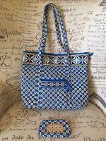 NEW Vera Bradley Riviera Blue Vera Tote Bag Large & ID Coin Purse Spotless