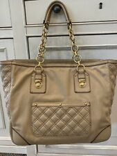Marc Jacobs Tan Quilted Leather Large Tote Bag with Gold Hardware Pocket Purse