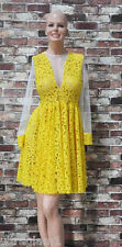 YELLOW LACE SHEER MESH COCKTAIL-PARTY DRESS Sleeves/DRAG QUEEN/ Large (8/10)