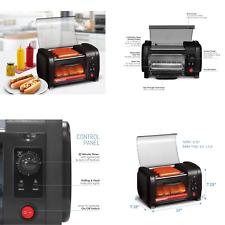 Horno Tostador Y 5 Rodillos De Acero Inoxidable Para Hot Dog De 210 Vatios Negro