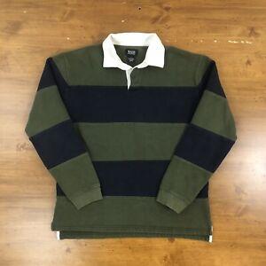 VTG Striped Rugby Shirt Olive Green Navy Long Sleeve Mens Medium GH Bass Fleece