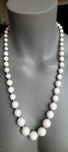 Vintage White & Gold-Tone Lucite Bead Graduated Necklace