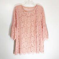 Isaac Mizrahi Pink Lace 3/4 Sleeve Round Neck Shirt Blouse Women's Plus Size 1X