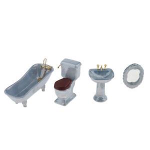 12th Dollhouse Miniature Bathroom Furniture Set Bathtub Toilet Basin Blue
