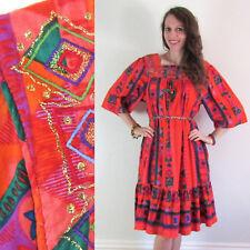 Vtg 70s ORANGE SPARKLY GOLD Colorful Hippie Ethnic MINI RUFFLE DRESS Embroidered