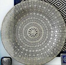 LARGE Silver Moroccan Metal Dish Wall Hanging Mount Antique Style Plate HOME DEC