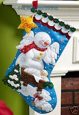"Bucilla Snow Angel ~ 18"" Felt Christmas Stocking Kit #86646, Nativity, Snowman"