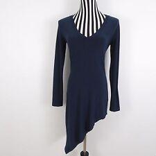 NORMA KAMALI BlueStretch Bodycon Asymmetrical V-Neck Long Sleeve Size S