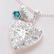 Heart Locket Necklace with Birthstone & Pearl, Ladies or Child's Jewellery Gift