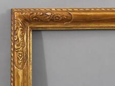 Antique Hand Carved & Gilded Wood American Oil Painting Frame w/ Flowers