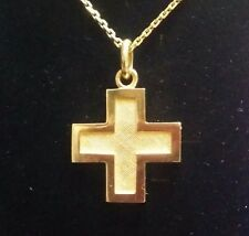 New Classic Elegant 14k Solid Gold Greek Handmade Wide Cross  For Men / Women