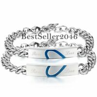 "2PCS Herren Damen Gliederarmband ""Real Love""  Gravur Armband Edelstahl Armkette"