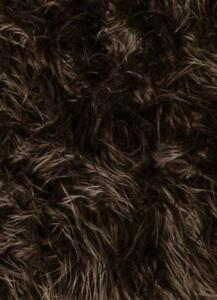 """Brown Mongolian Long Pile Faux Fur Apparel Crafting Fabric - BTY - 60"""""""