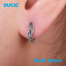 DUCIC Retro Women 925 Sterling Silver 2 Leaf Round Hoop Earring Inlay Marcasite