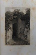 ITALIA. NAPLES, NAPOLI, GROTO DI POSILLIPO.GRABADO ORIGINAL DE HAKEWILL, 1820