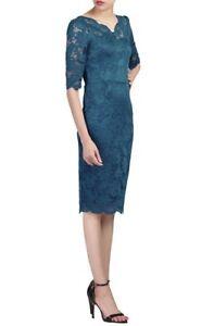 Jolie Moi - Petrol blue scalloped v neck lace bodycon dress Size 14 RRP £65