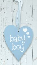 Baby Boy Pastel Blue Wooden Heart Wall Hanging in White by Eleganza
