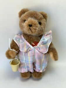 """Vintage Hermann Teddy Bear 10""""Jointed with Dress and Pale 1980's West Germany"""