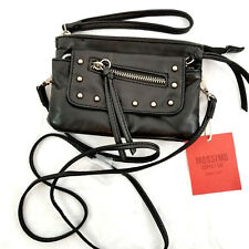 Mossimo Target Black Faux Leather Silver Studded Motorcycle Moto Crossbody Bag