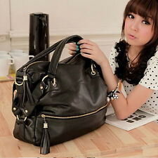 Korean Fashion Big Capacity Black Shoulder Handbag PU Leather Bag Hobo Retro