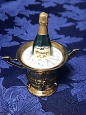 Beautiful Vintage Limoges France Trinket Box Champagne in Ice Buck