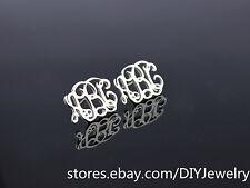 Personalized 925 Sterling Silver Monogram Initials Name Custom Stud Earrings (1)