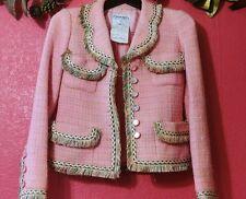 Chanel Vintage 95C Pink +Tweed Fringed Blazer Jacket Lesage glass buttons 36