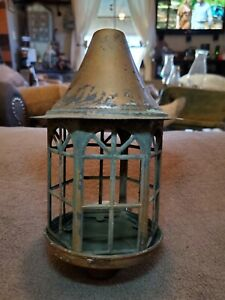VINTAGE Arts Crafts Mission Style Brass Porch /Cottage / Cabin  Light Fixture