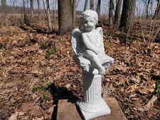 """13 1/2"""" Tall Cherub Angel Sitting On Pedestal Painted Cement Garden Art Concrete"""