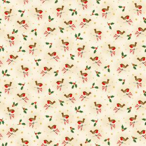 Makower Christmas Classic Foliage Robins Q 100% COTTON CRAFT/QUILTING per1/4m