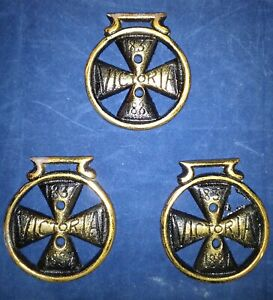 VINTAGE Lot Of 3/Solid Brass Horse Harness Bridle  Medallions