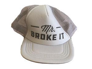 NWOT MR. BROKE  IT - Boys Kids 4-6x Size Gray Trucker Hat Funny kids