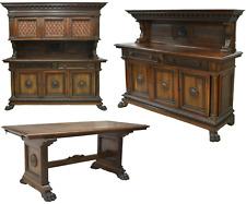 Antique Dining Set, Sideboards, Table, Renaissance Revival Carved Walnut, Gorgeo
