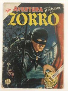 1954 SPANISH COMICS AVENTURA #9 LA MASCARA DEL ZORRO EDITORIAL NOVARO SEA MEXICO