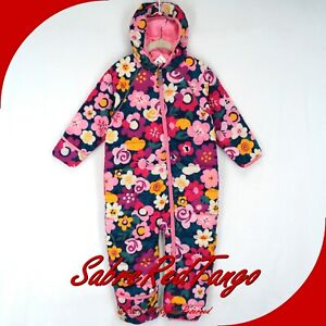 NWT HANNA ANDERSSON INSULATED SNOWSUIT NAVY MULTI FLORAL PRINT 80 18-24 M