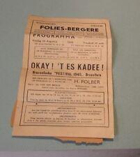 1945 Brussels Belgium Schouwburg Theatre Folies Bergere Program Jan Vandenbroeck