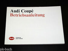 Betriebsanleitung Audi Coupe + quattro / Urquattro Typ 81 / 85, Stand 1987