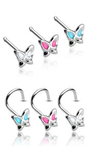 .925 Sterling Silver Butterfly Nose Rings, 20g Stud or Screw, Choose your color