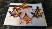ACC Square+ Compass Cufflink, Tieslide, lapel pin set, Masonic Army Catering