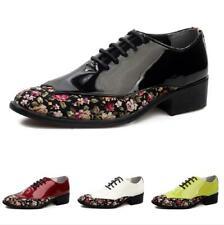 Men Low Top Faux Patent Leather Shoes Floral Oxfords Lace up Nightclub 4 Color D