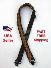 NEW Brown & Black Adjustable 550LB Paracord Rifle Gun Sling Strap w/ Swivels USA