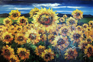 Sunflower Field Bold Yellow Flowers Van Gogh Repro 24X36 Oil Painting STRETCHED