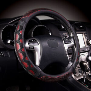 Car Steering Wheel Cover Leather Universal Auto Accessories Red Black Massage