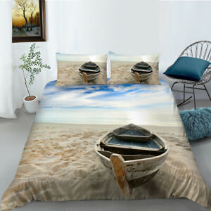 Ocean Beach Boat Quilt Cover Set Pillow Single Double Queen King Size Bedding