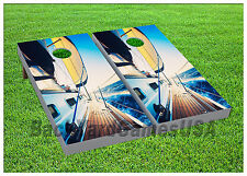 Ship Boat Ocean Sea Cornhole Beanbag Toss Game w Bags Game Boards Set 995