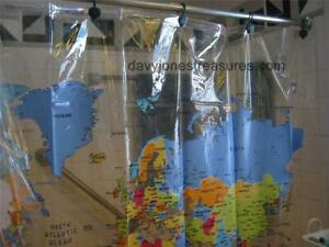 THE WORLD MAP Shower Curtain USA Europe & All Continents Educational