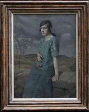 HAROLD HARVEY 1874-1941 BRITISH CORNISH NEWLYN ART OIL PAINTING PORTRAIT CLARA