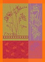 GARNIER THIEBAUT, FREESIA ORANGE FRENCH JACQUARD KITCHEN / TEA TOWEL, NEW