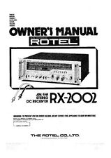 Rotel RX-2002 Receiver Owners Instruction Manual