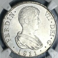 1811-V NGC MS 64 Spain 4 Reales Mint State Silver Coin (20052603CV)